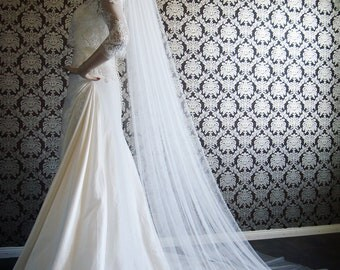 """Pure Silk Luxury Softest Silk Chapel Length Veil 145"""" Wide Silk Tulle Veil by IHeartBride Silk Tulle Collection V-AS145 Widest Veil"""