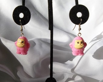 Adorable Pink Ape Earrings