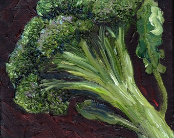 Broccoli - original oil painting 8 x 8 in