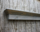 Wooden wall shelf - Weathered grey mantle shelf - The Mistletoe Shelf