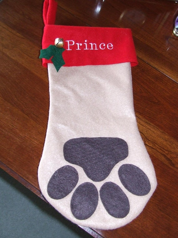 Personalized dog paw christmas stocking by tandmhandmade for Personalized dog christmas stocking