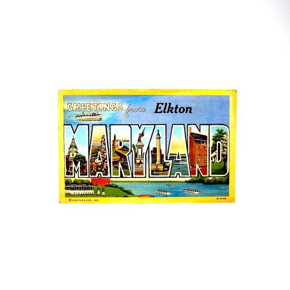 Vintage Maryland Postcard 1940s State Souvenir Elkton MD