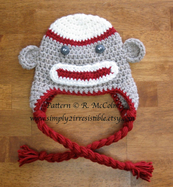 Sock Monkey Hat Crochet Pattern 2 Beanie and Earflap