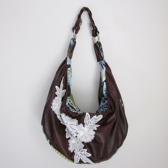 Dark Mulberry Slouchy Leather & Lace Hobo w/ Braided Strap