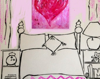 Large Jeweled Pink Heart Painting for Girls Room