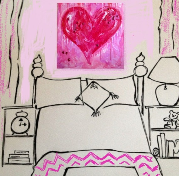 REDUCED Large Jeweled Pink Heart Painting for Girls Room