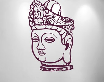 Buddha Head, medium size Buddha Head wall decal, Buddhism