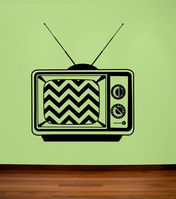 Retro television decal with chevron screen, old TV decal