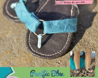 Pacific Blue Sandals PDF sewing pattern for 18 inch dolls like American Girl - INSTANT DOWNLOAD.