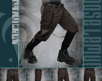 Militia Pants in Black and Brown with Studded Leather Strap by Loose Lemur Clothing