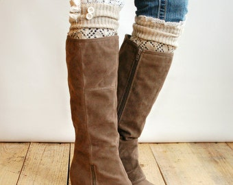 the lou open work leg warmers with ivory