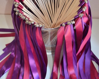 Wedding ribbon wands- set of 50 double ribbon wands with bells