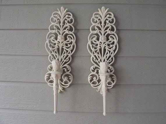 Upcycled Retro Hollywood Regency Burwood Wall Candles Sconces 1592 Circa 1970