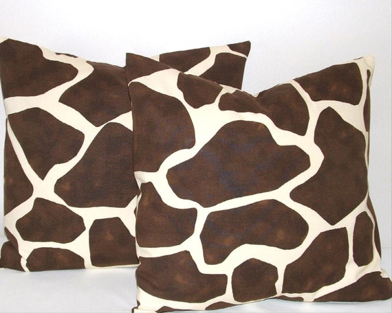 Animal Print Pillow Cover - Giraffe Decorative Home Accent - Set of Two 20 x 20 inches