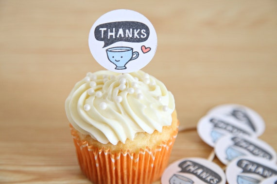 Cupcake Toppers, Thank You, Thank you Cupcake toppers, Big Cup of Thanks, Appreciation, set of 12