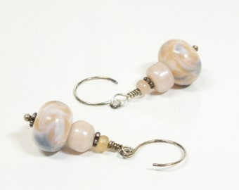 Dangle Earrings of Peach, Gray and White Lampwork Beads