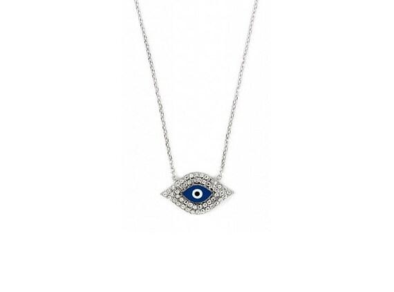 Free Domestic Shipping Silver Dark Blue Evil Eye Necklace