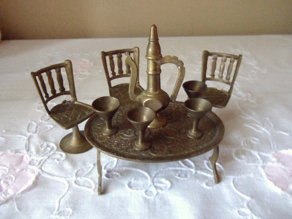Miniature Brass Tea Set Childs Table And Chairs Aftaba And