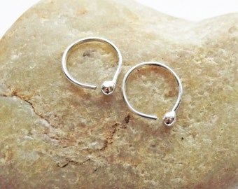 Pure Silver Ball End Hoops, 22 Gauge Fine Silver Small Hoop Earrings, Cartilage Piercing, Helix Earrings, Ear Huggers, Lobe Piercing