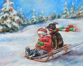 CHRISTMAS SLED RIDE, snow scene, child and dog, sledding, winter, reproduction print 8x10