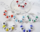 OMG WTF Wine Charms, Wine Glass Charms, Wine Markers, Text Words, Set of 6 Six, barware, wine gifts