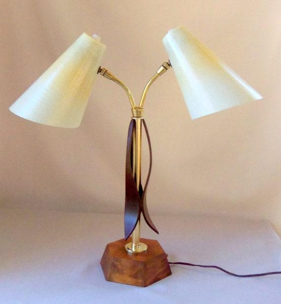 mid century modern sculptural wood brass lamp fiberglass shade