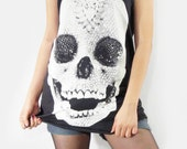 SKULL DIAMOND White Head Skull Bone Skull Shirt Women Tank Top Vest Women Shirt Sleeveless Tunic Top Tank Singlet Women T-Shirt Size M