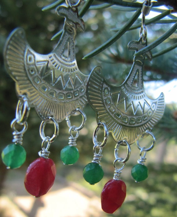 red and green Quartz chandelier earrings, ready to ship, gifts under 30, gifts for women