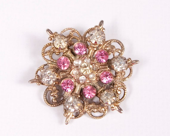 Vintage Pink Rhinestone Brooch Mad Men Pink and Clear Crystals Pin Goldtone Gold Filligree 1950s