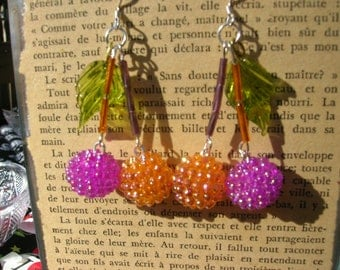 orange and purple Pin Up Girl cherry earrings, rockabilly, kitschy, retro, vintage style, cherries
