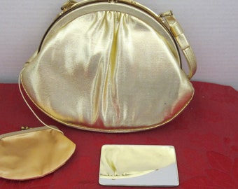 """Beautiful ' After Five"""" Small Gold Lame Handbag Coin Purse And Mirror  c1980's"""