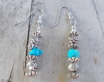 Native American Silver Tone Turquoise Earrings