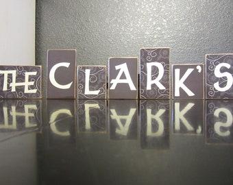 Wooden Last Name Decor Blocks - 5 Letters