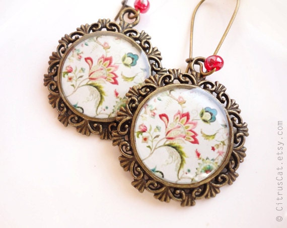 SALE - Victorian style floral earrings