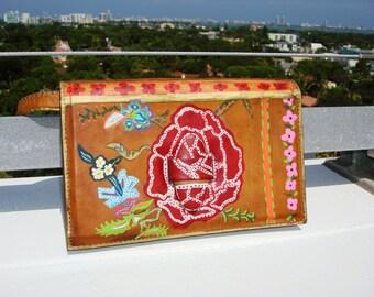 Super original  hand painted natural color women leather clutch with little handle unique design