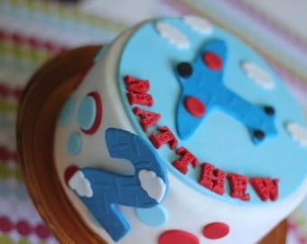 Over 27-Piece Airplane Fondant Cake Topper Set