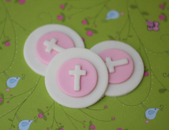 Christening Baptismal First Communion Fondant Toppers - Perfect for Cupcakes, Cookies, and Other Edible Creations