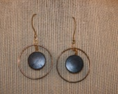 Gold hoop with Brown Wooden Bead Earrings