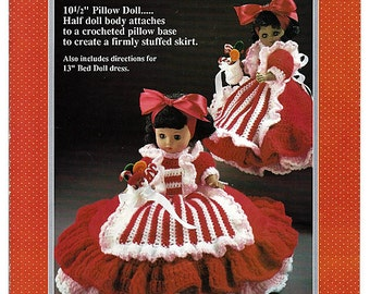 Peppermint Candy Pillow Doll, Music Box Doll, or Bed Doll Crochet Pattern Fibre Craft FCM162