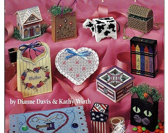 Little Boxes & Bags in Perforated  Plastic Canvas Pattern American School of Needlework 3625