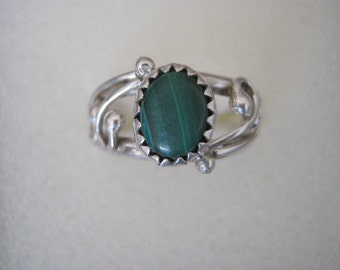 Malachite and Sterling Silver Genuine Gemstone Hand Forged Ring