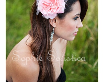 Elegant Pink Rose Flower Hair Clip Accented with Feathers, Tulle & Three Pearls - Perfect Accessory for Work, Parties or Just an Evening Out