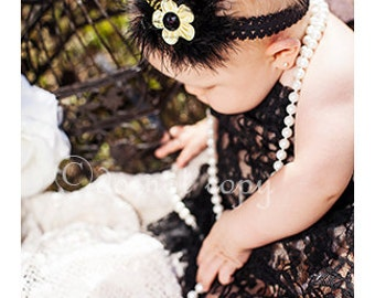 Black Yellow Flapper Headband - Pale Yellow Satin Flower Accented with Rhinestone and Feathers on Black Lace Headband - Baby