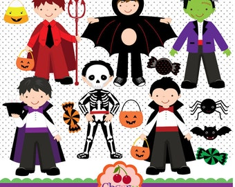 Halloween Costumes Boys digital clip art set for-Personal and Commercial Use-paper crafts,card making,scrapbooking,web design