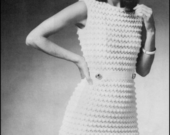 "No.202 PDF Vintage Crochet Pattern Women's Puff Stitch Dress - Retro Crochet Pattern - Instant Download - Bust Sizes 34"", 36.5"", 39"""