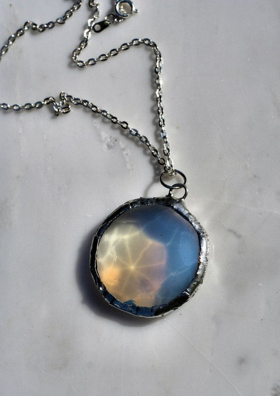 Victorian Stained Glass Jewel  Necklace Opalescent Cat Eye