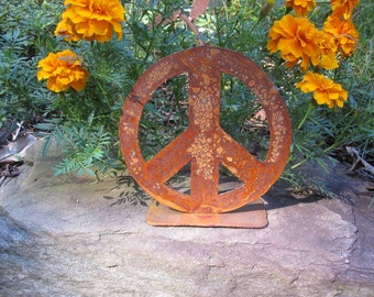 6 inch metal peace sign on stand