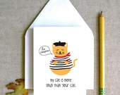 le meow my cat is more smug than your cat french funny sarcastic hipster cute chic kitten in clothes animal illustration card