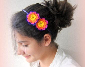 Headband Handmade felt hairband hippie flower hair band Girls hair band Hair accessory Colorful felted hairband.