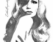 Black and White Watercolor & Ink Painting Fine Art Print